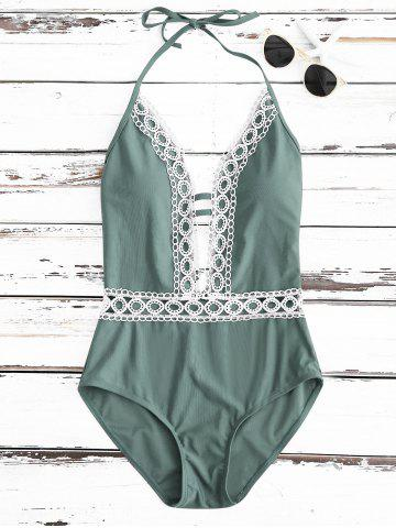 Discount Crochet Panel Halter Backless One Piece Swimsuit