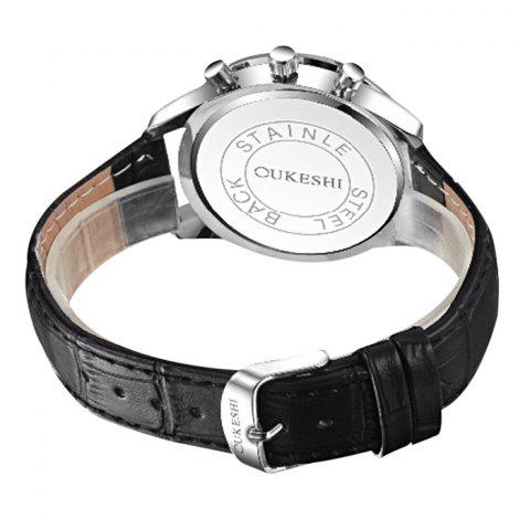 Store OUKESHI Faux Leather Strap Analog Qaurtz Watch - BLACK RED  Mobile