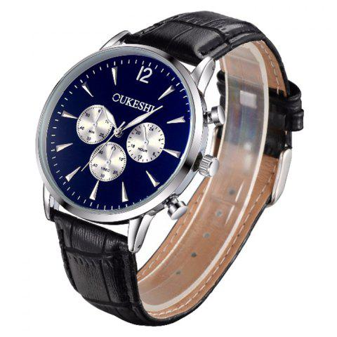 Store OUKESHI Faux Leather Strap Analog Qaurtz Watch - BLUE AND BLACK  Mobile