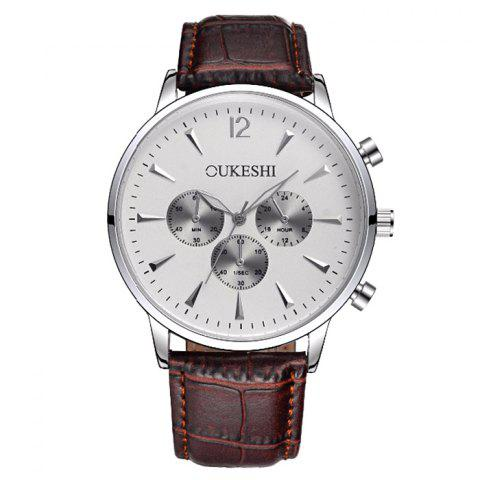 Store OUKESHI Faux Leather Strap Analog Qaurtz Watch - WHITE AND BROWN  Mobile
