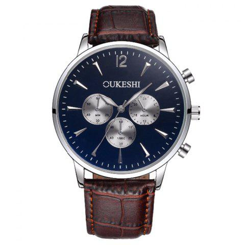 Shop OUKESHI Faux Leather Strap Analog Qaurtz Watch BLUE / BROWN