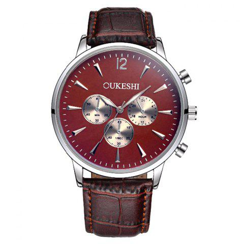 Hot OUKESHI Faux Leather Strap Analog Qaurtz Watch - BROWN  Mobile