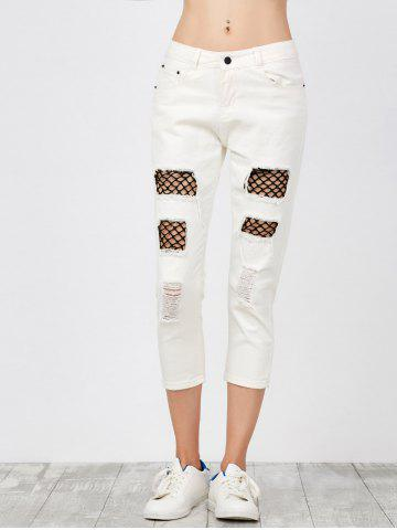 Fancy Mid Rise Distressed Fishnet Panel Jeans - S WHITE Mobile