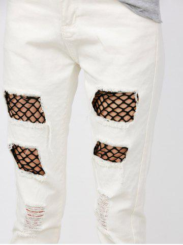 Chic Mid Rise Distressed Fishnet Panel Jeans - S WHITE Mobile