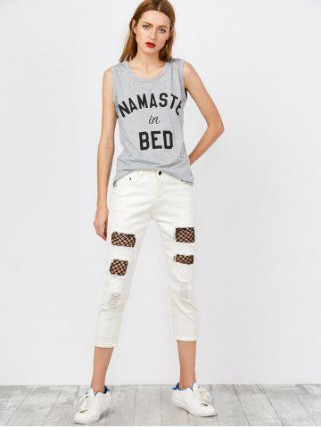 Outfit Mid Rise Distressed Fishnet Panel Jeans - S WHITE Mobile