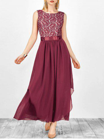 Fashion Formal Sleeveless Asymmetric Lace Maxi Prom Dresses