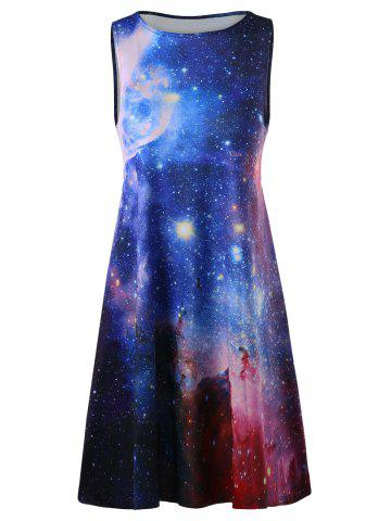 Store Plus Size Galaxy Sleeveless A Line Short Dress