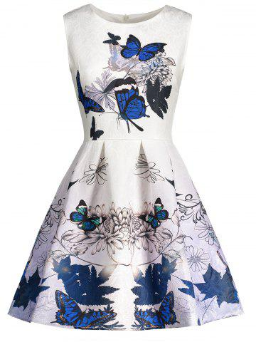 Sleeveless Butterfly Print Skater Dress - BLUE S