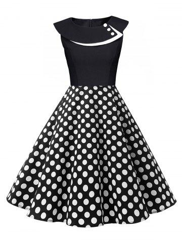 Outfit Polka Dot Swing Pin Up Dress - WHITE AND BLACK S Mobile