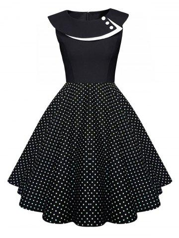 Fashion Polka Dot Swing Pin Up Dress BLACK S