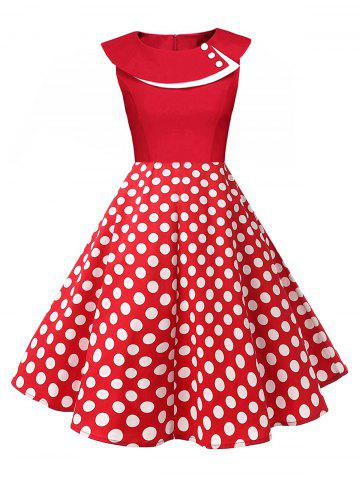 Fancy Polka Dot Swing Pin Up Dress RED L