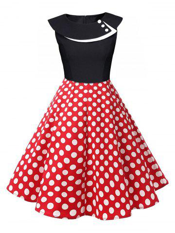 Latest Polka Dot Swing Pin Up Dress - BLACK AND WHITE AND RED L Mobile