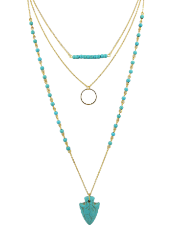 Circle Beads Arrow Layered Necklace - Turquoise Blue - 40