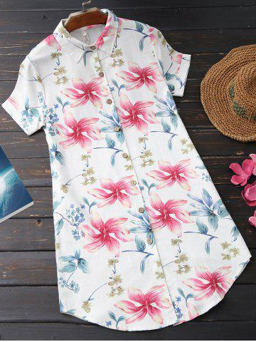 New Floral Print Casual Tunic Shirt SHALLOW PINK L