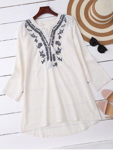 High Low Embroidered Mini Dress - White - Xl