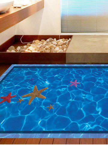 Shop Starfish with Swimming Pool Pattern 3D Toilet Floor Stickers - BLUE  Mobile