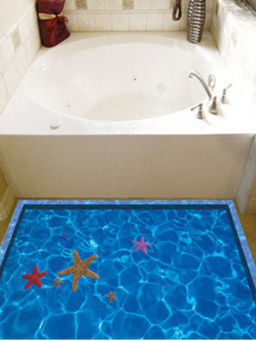 Discount Starfish with Swimming Pool Pattern 3D Toilet Floor Stickers - BLUE  Mobile