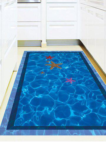 Chic Starfish with Swimming Pool Pattern 3D Toilet Floor Stickers - BLUE  Mobile