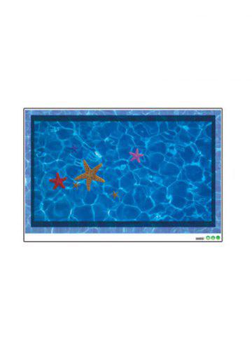 Fancy Starfish with Swimming Pool Pattern 3D Toilet Floor Stickers - BLUE  Mobile