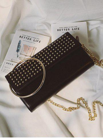 Fashion Rivet Metal Ring Clutch Bag with Chains - BLACK  Mobile