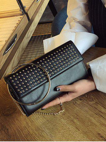 Shop Rivet Metal Ring Clutch Bag with Chains - BLACK  Mobile