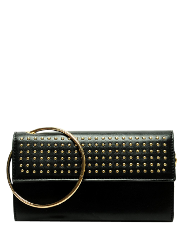Cheap Rivet Metal Ring Clutch Bag with Chains - BLACK  Mobile