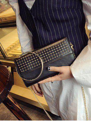 Sale Rivet Metal Ring Clutch Bag with Chains - BLACK  Mobile