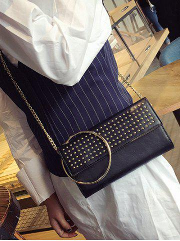 Chic Rivet Metal Ring Clutch Bag with Chains - BLACK  Mobile