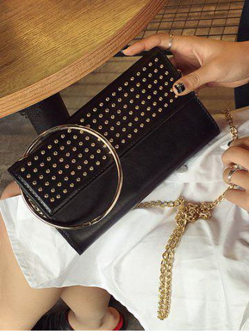 Latest Rivet Metal Ring Clutch Bag with Chains - BLACK  Mobile