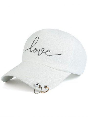 Unique Letters Beads Metal Circle Embellished Baseball Hat WHITE