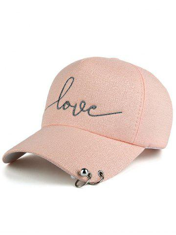 Cheap Letters Beads Metal Circle Embellished Baseball Hat - PINK  Mobile