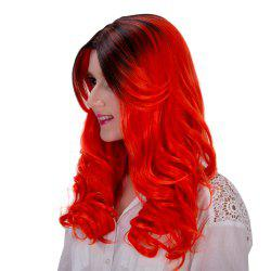 Stylish Long Black Ombre Jacinth Synthetic Fluffy Wavy Adiors Wig For Women