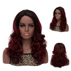 Long Side Parting Curly Black Mixed Deep Brown Women's Fashion Synthetic Hair Wig