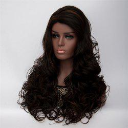 Long Side Parting Curly Black Brown Women's Fashion Synthetic Hair Wig