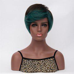 Stunning Dark Green Highlights Short Fluffy Straight Side Bang Women's Synthetic Wig