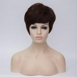 Short Fluffy Side Bang Slightly Curled Synthetic Wig