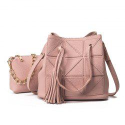Geometric Tassel Chain Bucket Bag Set - PINK
