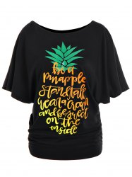 Skew Neck Letter Pineapple Print T-Shirt