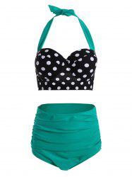 Plus Size Polka Dot High Waisted 50s Bikini - GREEN