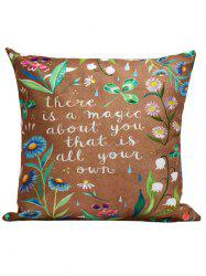 Flowers Letter Printed Throw Pillow Cover Case - BROWN