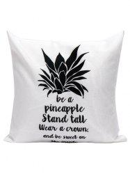 Pineapple Letter Linen Cushion Pillow Case - WHITE