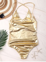 Metallic Backless One Piece Swimsuit - GOLDEN