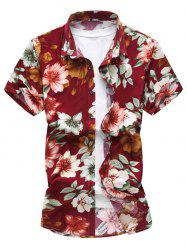 Short Sleeve Hawaiian Printed Floral Shirt - RED