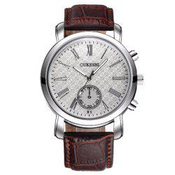 OUKESHI Faux Leather Strap Roman Numeral Watch - BROWN