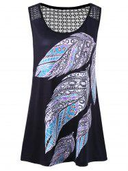 Plus Size Feather Print Openwork T-Shirt