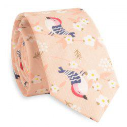 Cartoon Bird Floral Print Tie - MELON YELLOW