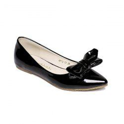 Patent Leather Bowknot Flat Shoes
