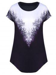 Tree Pattern Curved Hem T-Shirt