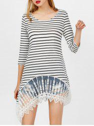 Mesh Panel Striped Asymmetric Top