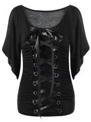 Lace Up Cold Shoulder T-Shirt